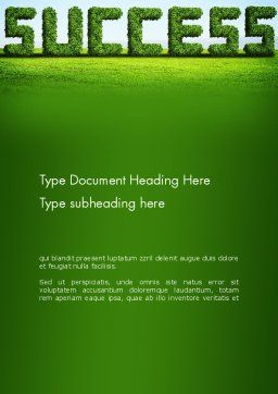 Green Grass Word Success Word Template Cover Page