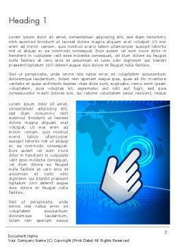 Hand Pointer Touches the World Map Word Template, First Inner Page, 13199, Technology, Science & Computers — PoweredTemplate.com