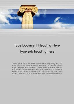 Ionic Column on Sky Word Template Cover Page