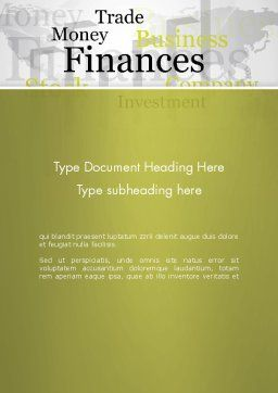 Trade Money Finances Word Template Cover Page