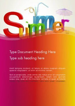 3D Summer Party Word Template, Cover Page, 13223, Holiday/Special Occasion — PoweredTemplate.com