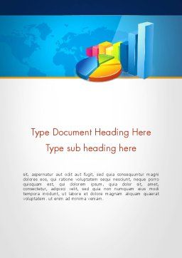 Bar and Pie Charts on Word Map Word Template, Cover Page, 13224, Business — PoweredTemplate.com