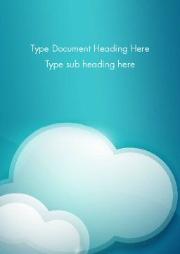 Turquoise Clouds Word Template, Cover Page, 13226, Nature & Environment — PoweredTemplate.com