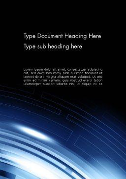 Blue Tech Style Abstract Word Template Cover Page