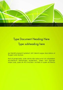 Green Neon Leaves Word Template Cover Page
