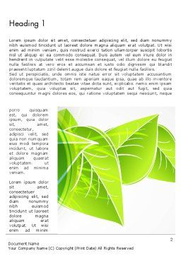 Green Neon Leaves Word Template First Inner Page