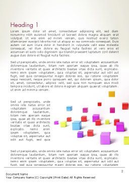 Scattered Colored Cubes Word Template, First Inner Page, 13241, 3D — PoweredTemplate.com