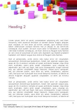 Scattered Colored Cubes Word Template, Second Inner Page, 13241, 3D — PoweredTemplate.com