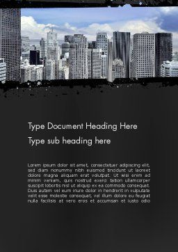 Business Skyscrapers Word Template, Cover Page, 13242, Construction — PoweredTemplate.com