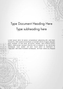 Machine Drawing Word Template, Cover Page, 13250, Utilities/Industrial — PoweredTemplate.com