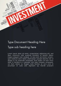 Investment Word Cloud Word Template, Cover Page, 13253, Financial/Accounting — PoweredTemplate.com