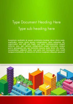 Isometric City Center Word Template, Cover Page, 13256, Construction — PoweredTemplate.com