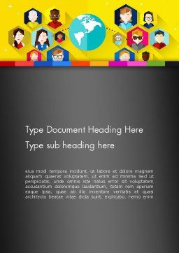 Faces Around the Globe Word Template, Cover Page, 13257, Business Concepts — PoweredTemplate.com