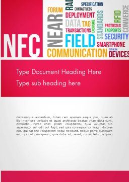 NFC Word Cloud Word Template, Cover Page, 13258, Telecommunication — PoweredTemplate.com