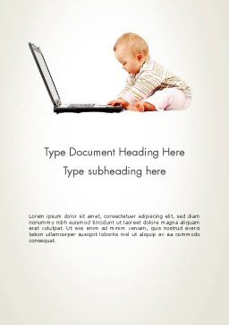 Small Baby with Laptop Word Template, Cover Page, 13280, Education & Training — PoweredTemplate.com