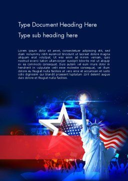 Statue Of Liberty With Fireworks Word Template, Cover Page, 13291, Holiday/Special Occasion — PoweredTemplate.com