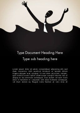 Drowning Businessman Cartoon Word Template Cover Page