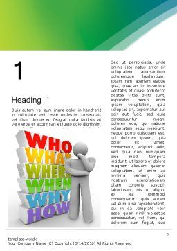 Who What Where When Why Word Template, First Inner Page, 13296, Education & Training — PoweredTemplate.com