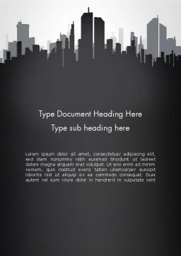 Black and White City Silhouette Word Template, Cover Page, 13297, Construction — PoweredTemplate.com