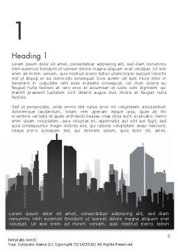 Black and White City Silhouette Word Template, First Inner Page, 13297, Construction — PoweredTemplate.com