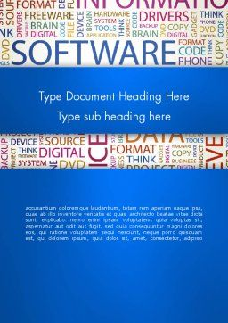 Software Word Cloud Word Template, Cover Page, 13298, Careers/Industry — PoweredTemplate.com