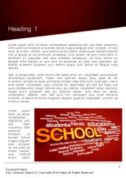 School Word Cloud Word Template First Inner Page