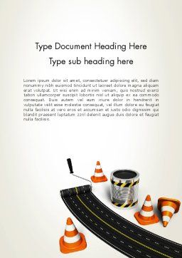 Road Construction Concept Word Template, Cover Page, 13327, Construction — PoweredTemplate.com
