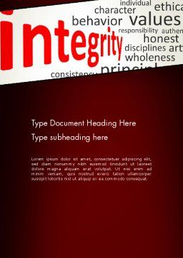 Integrity Word Cloud Word Template, Cover Page, 13333, Consulting — PoweredTemplate.com