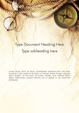 Compass Rope and Glasses on Old Paper Word Template Cover Page