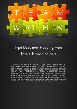 Teamwork Puzzle Word Template, Cover Page, 13355, Careers/Industry — PoweredTemplate.com