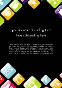 App Icons Word Template, Cover Page, 13357, Technology, Science & Computers — PoweredTemplate.com