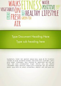 Healthy Lifestyle Word Cloud Word Template, Cover Page, 13362, Medical — PoweredTemplate.com