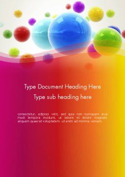 Colorful Flying Spheres Word Template, Cover Page, 13364, 3D — PoweredTemplate.com