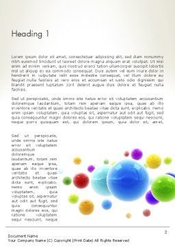 Colorful Flying Spheres Word Template, First Inner Page, 13364, 3D — PoweredTemplate.com