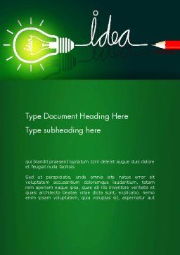 Idea Concept with Light Bulb Word Template, Cover Page, 13394, Business Concepts — PoweredTemplate.com
