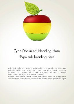 Multi Colored Apple Word Template, Cover Page, 13423, Food & Beverage — PoweredTemplate.com