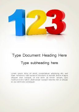 Numbers 123 Word Template Cover Page