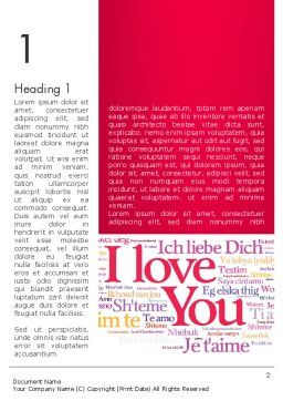 Declaration of Love in Different Languages Word Template, First Inner Page, 13425, Holiday/Special Occasion — PoweredTemplate.com