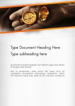 Orienteering Compass Word Template, Cover Page, 13434, Business Concepts — PoweredTemplate.com