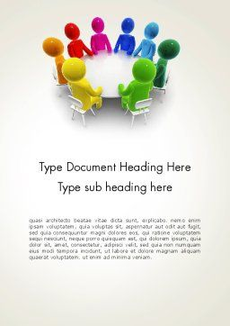 Discussion on a Round Table Meeting Word Template, Cover Page, 13466, 3D — PoweredTemplate.com
