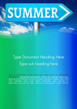 Summer Sign Word Template, Cover Page, 13480, Holiday/Special Occasion — PoweredTemplate.com