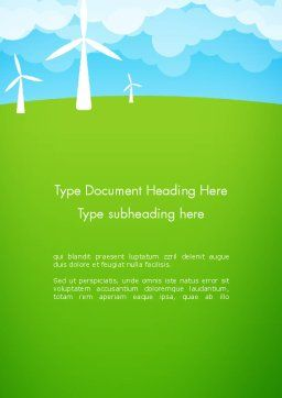 Wind Farm Illustrative Word Template, Cover Page, 13481, Nature & Environment — PoweredTemplate.com