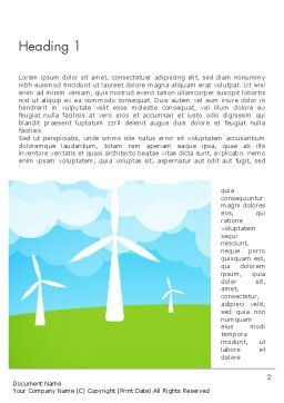 Wind Farm Illustrative Word Template, First Inner Page, 13481, Nature & Environment — PoweredTemplate.com