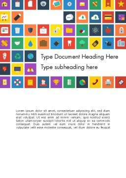 Scattering of Flat Design Icons Word Template Cover Page