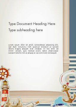Nautical Theme Word Template, Cover Page, 13491, Careers/Industry — PoweredTemplate.com