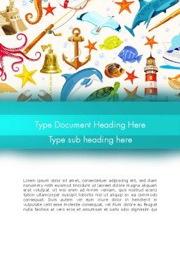 Marine Themed Word Template, Cover Page, 13506, Holiday/Special Occasion — PoweredTemplate.com