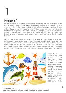 Marine Themed Word Template, First Inner Page, 13506, Holiday/Special Occasion — PoweredTemplate.com