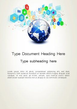 Global Application Network Word Template, Cover Page, 13507, Technology, Science & Computers — PoweredTemplate.com