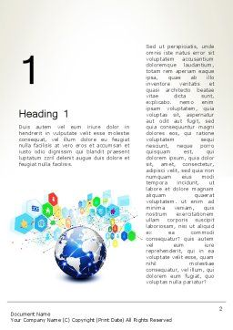 Global Application Network Word Template, First Inner Page, 13507, Technology, Science & Computers — PoweredTemplate.com