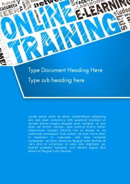 Online Training Word Cloud Word Template, Cover Page, 13515, Education & Training — PoweredTemplate.com